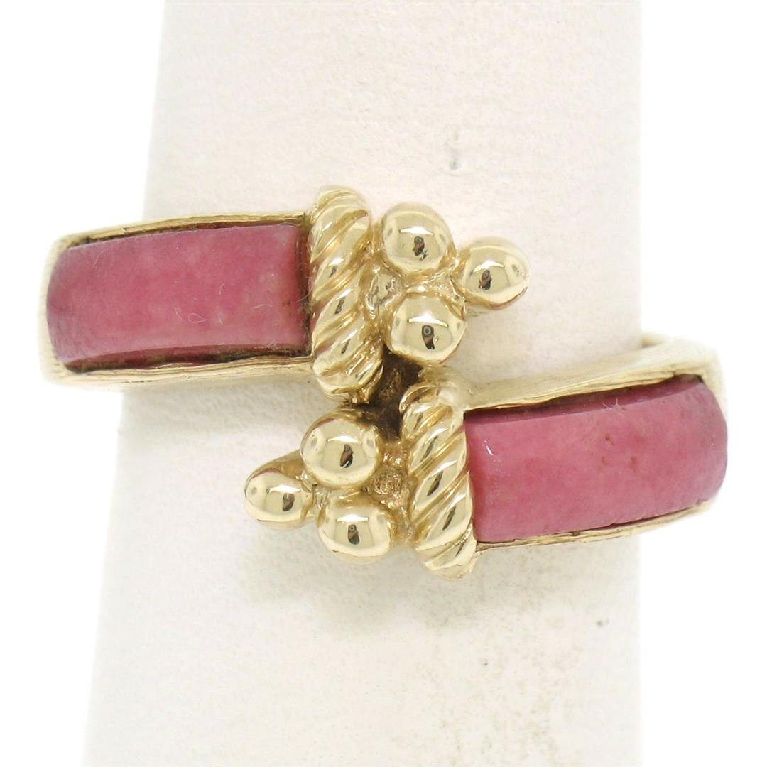 14k Yellow Gold 2 Bezel Set Rectangular Pink Jade