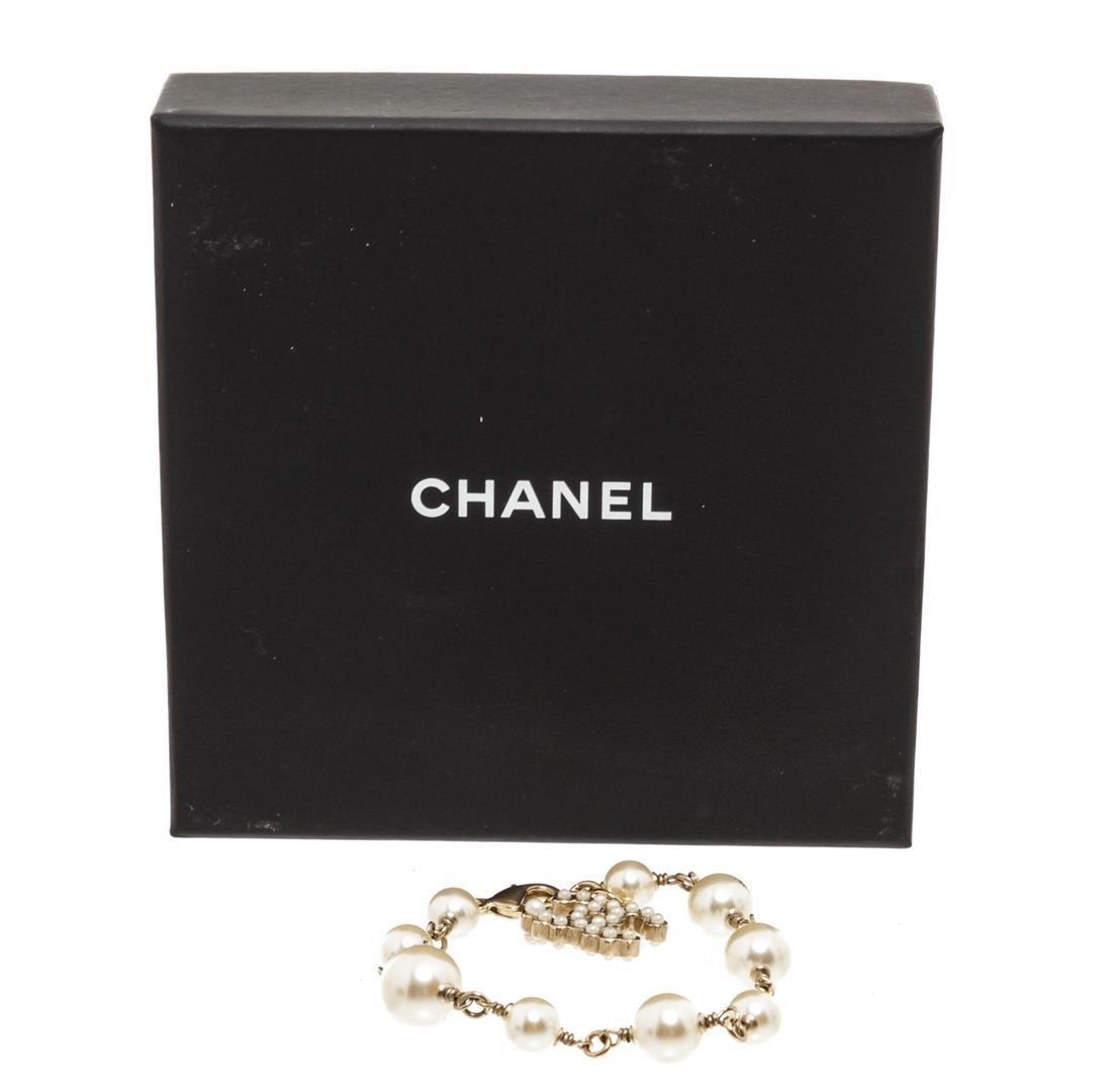 Chanel Antique Gold Faux Pearl CC Bracelet