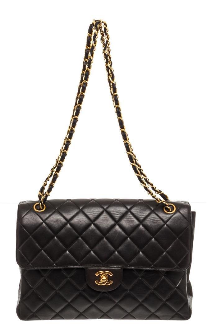 Chanel Black Lambskin Leather Vintage Double Reverse