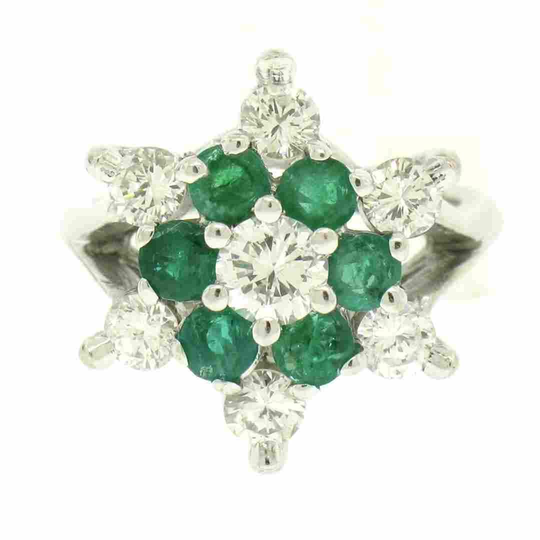 14k White Gold 2.25 ctw Round Emerald & Diamond Ladies