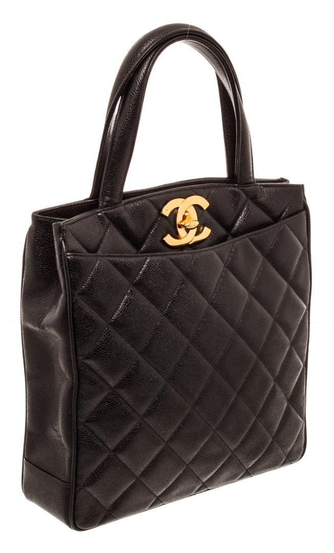 Chanel Black Quilted Caviar Leather Vintage North South