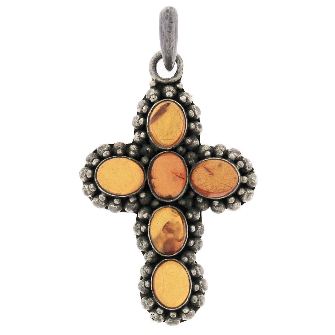 Sterling Silver Oval Cabochon Bezel Amber Cross Pendant