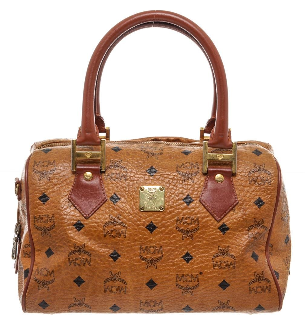 MCM Tan Cognac Visetos Brown Leather Trim Vintage