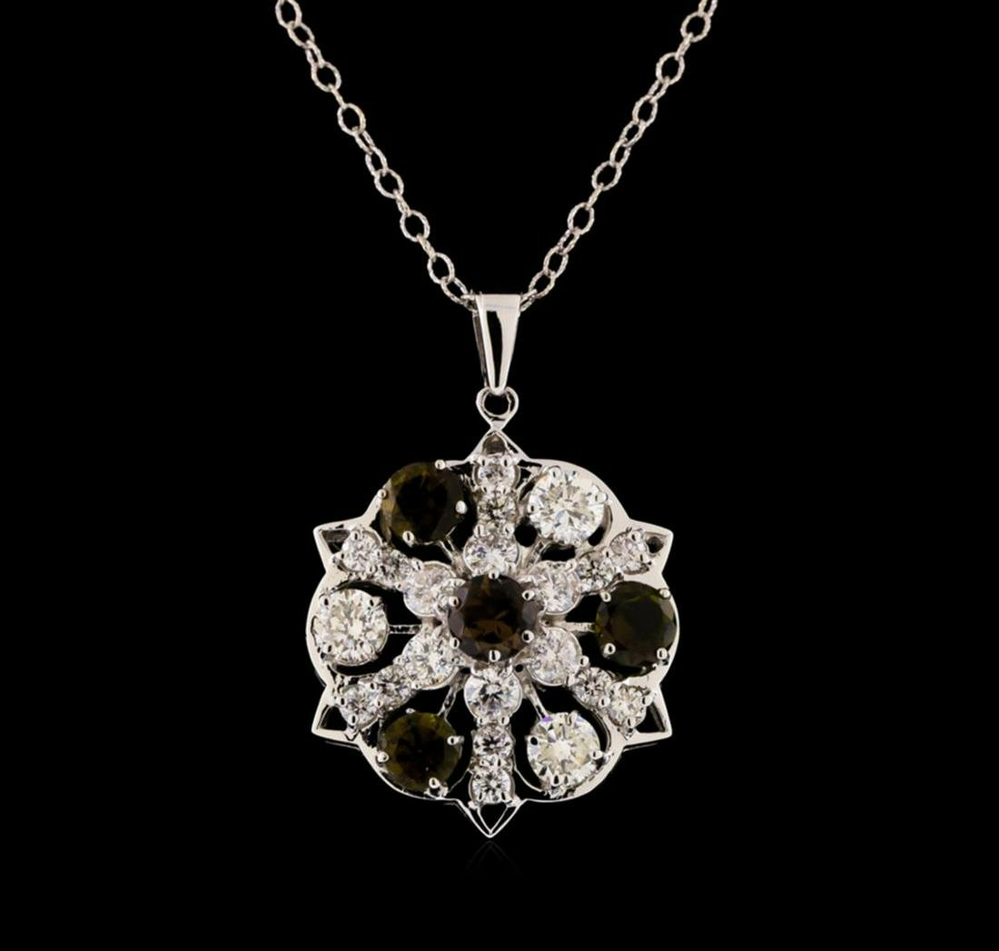 2.10 ctw Tourmaline and Diamond Pendant With Chain -