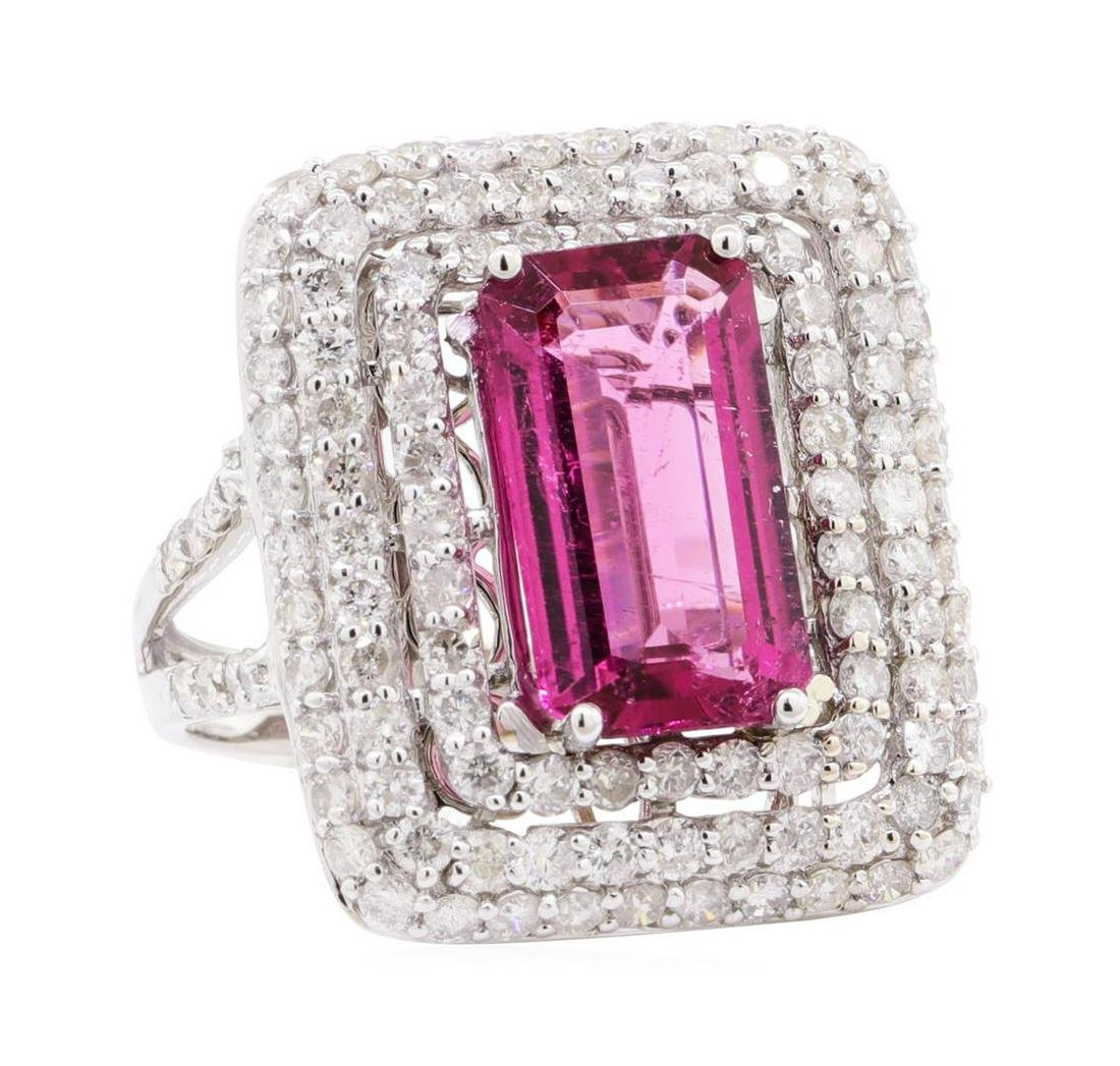 6.09 ctw Pink Tourmaline and Diamond Ring - 14KT White