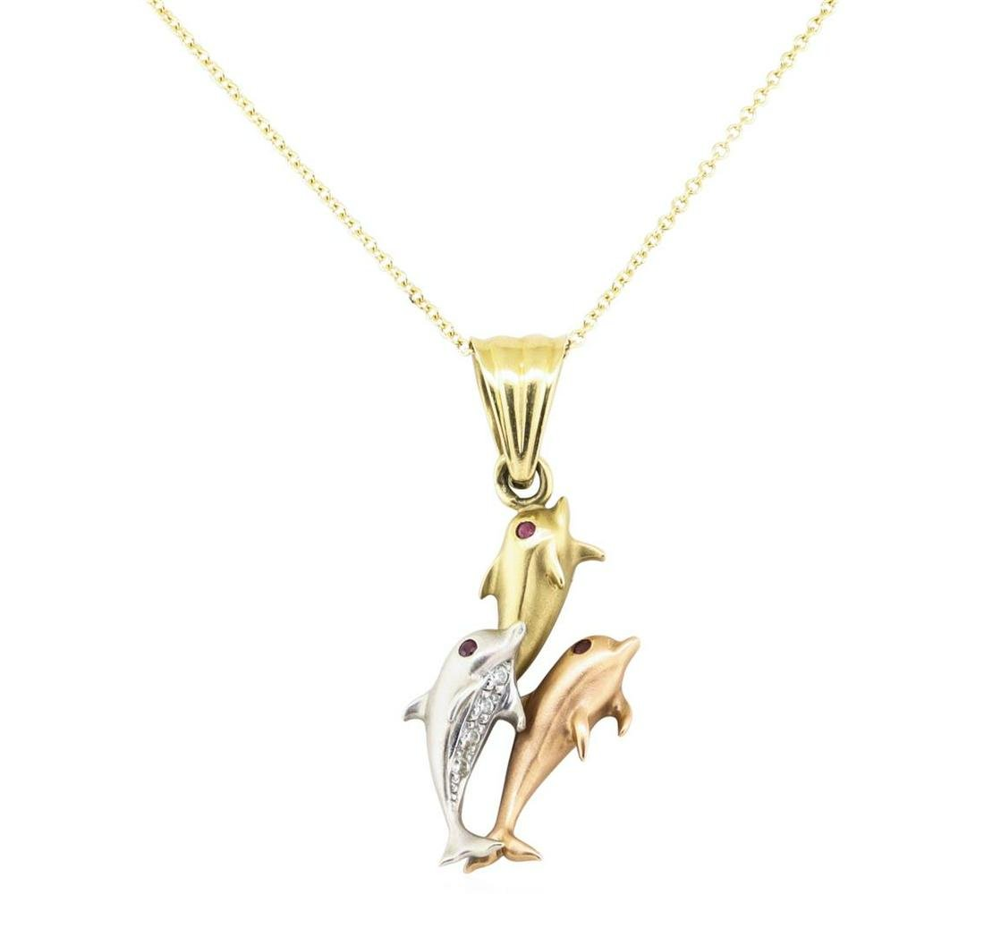 0.14 ctw Diamond and Ruby Dolphin Pendant with Chain -