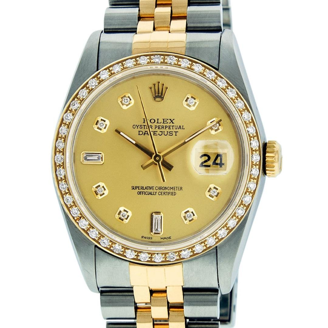 Rolex Mens 2 Tone 14K Champagne Diamond 36MM Datejust