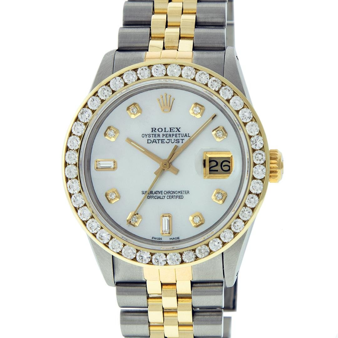 Rolex Mens 2 Tone Mother Of Pearl 3 ctw Channel Set