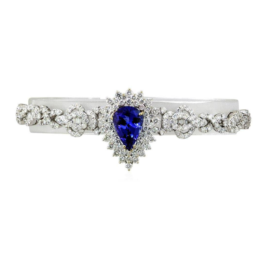 3.97 ctw Tanzanite and Diamond Bracelet - 18KT White