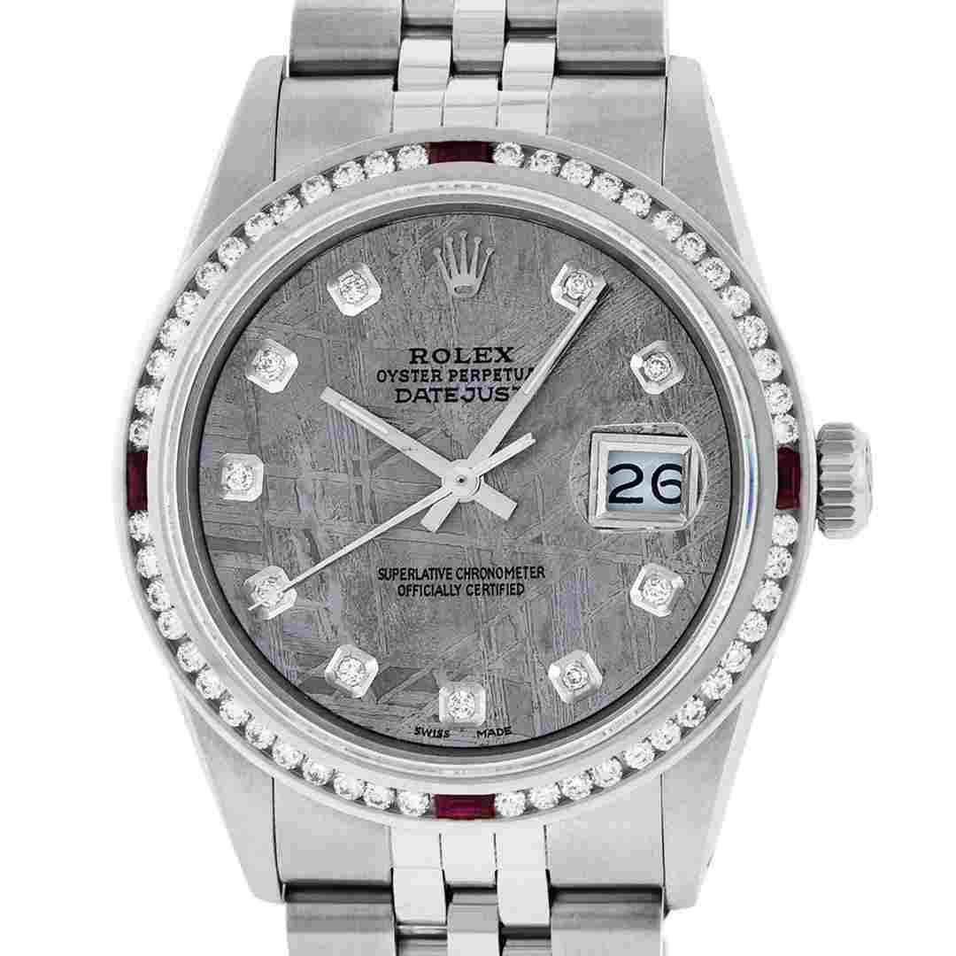 Rolex Mens SS Meteorite Diamond & Ruby Channel Set