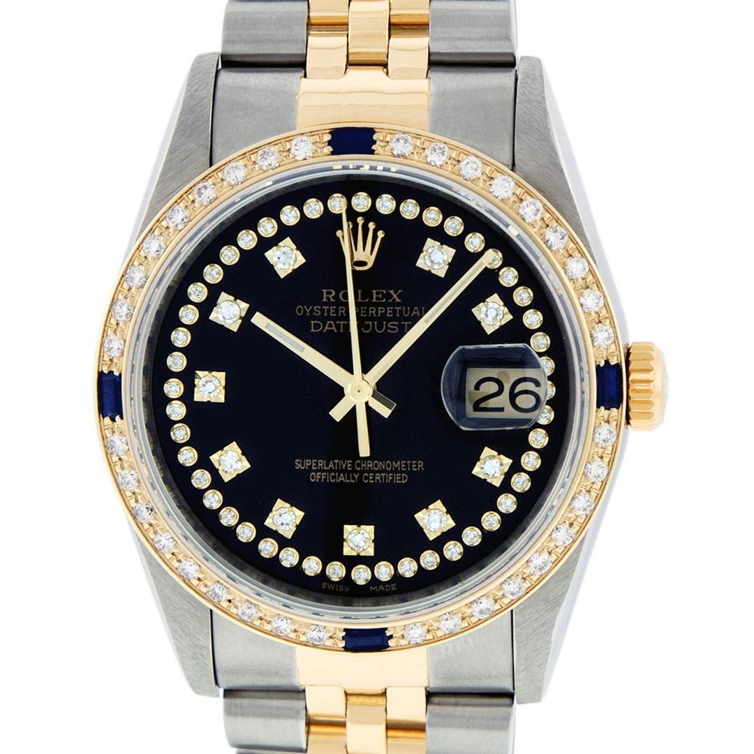Rolex Mens 2 Tone 14K Black String Diamond & Sapphire