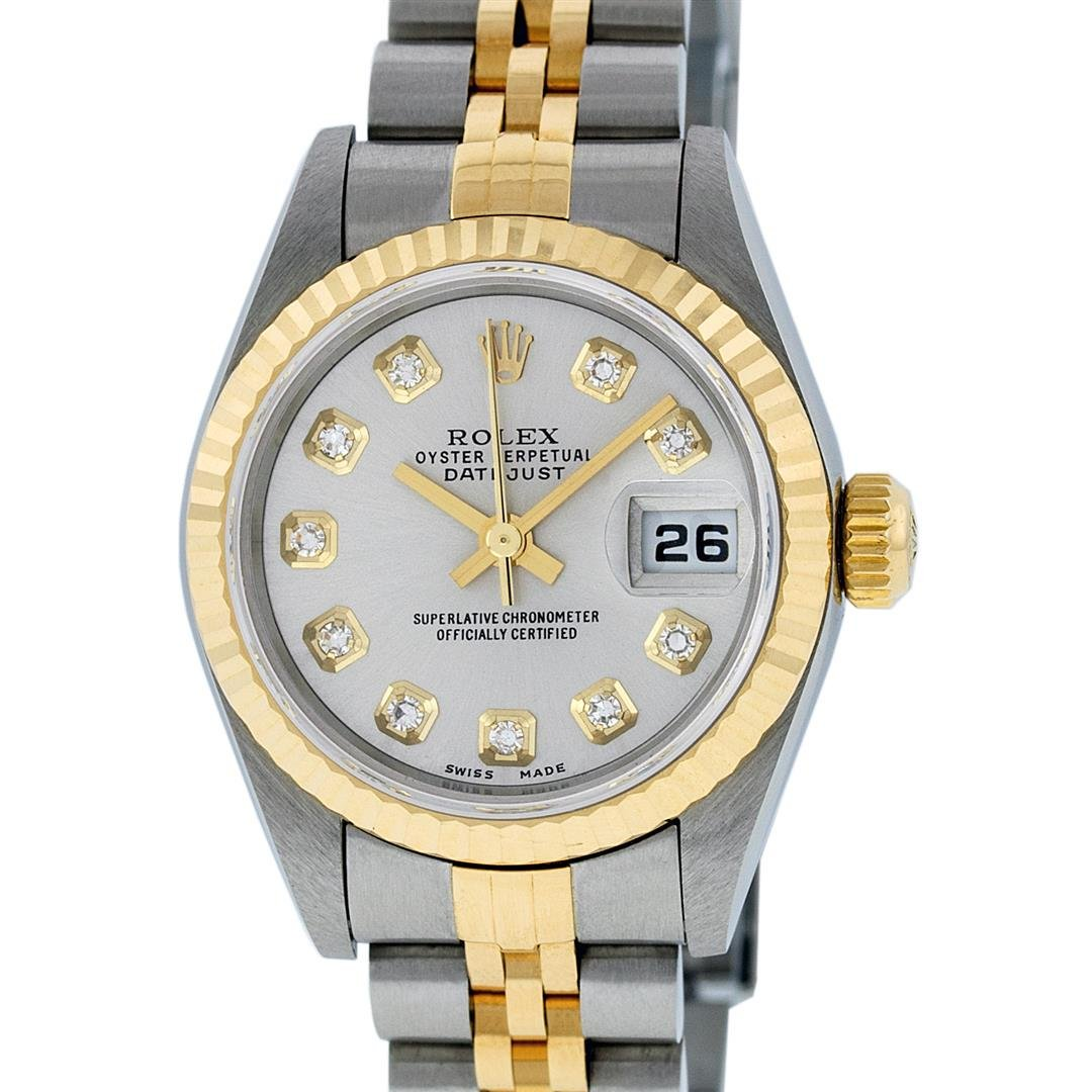 Rolex Ladies Quickset 2 Tone 18K Silver Diamond