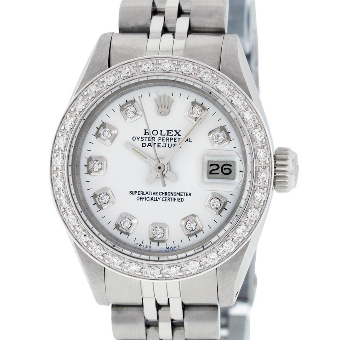 Rolex Ladies Stainless Steel White Diamond 26MM