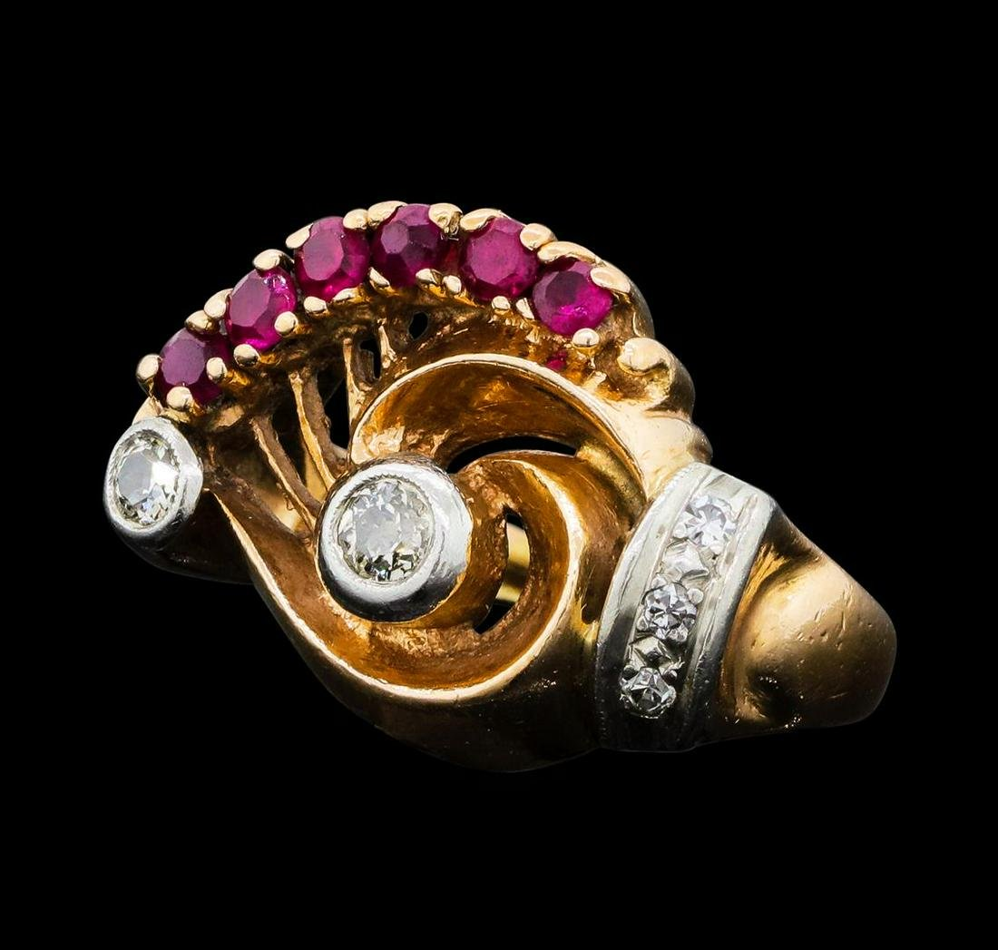 0.40 ctw Ruby and Diamond Ring - 14KT Rose and White