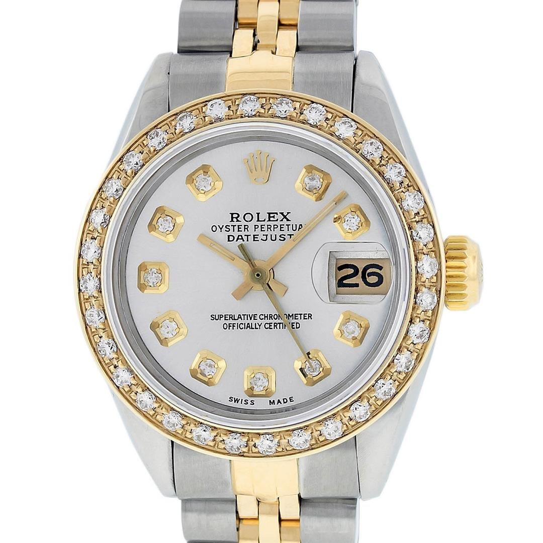 Rolex Ladies 2 Tone 14K Silver Diamond Datejust