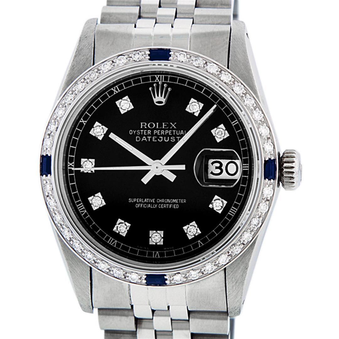 Rolex Mens Stainless Steel Black Diamond & Sapphire