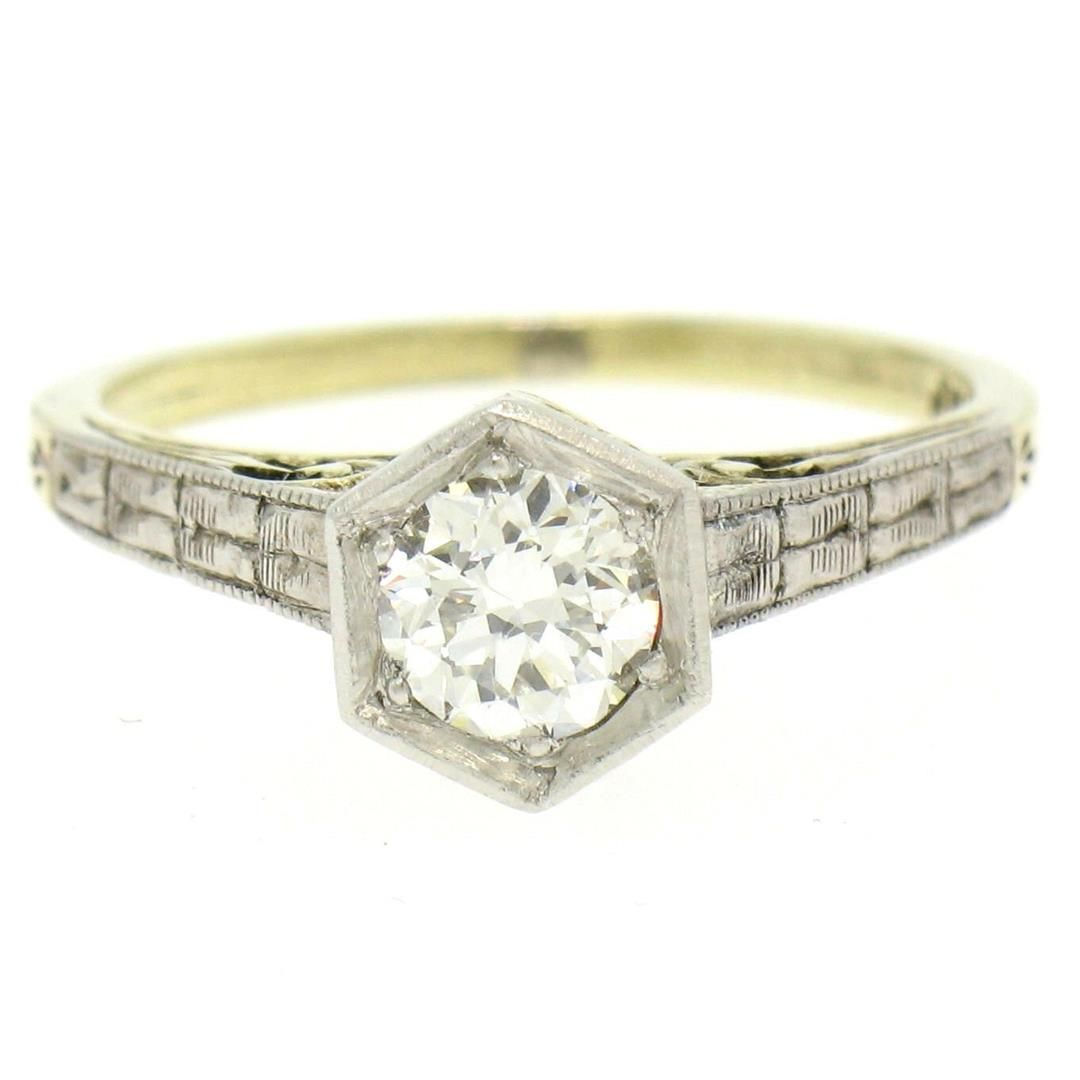 14k Gold & Platinum Old European Diamond Etched