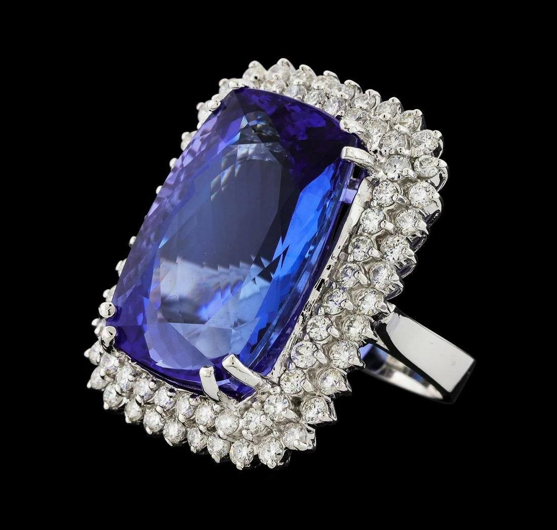 GIA Cert 38.29 ctw Tanzanite and Diamond Ring - 14KT