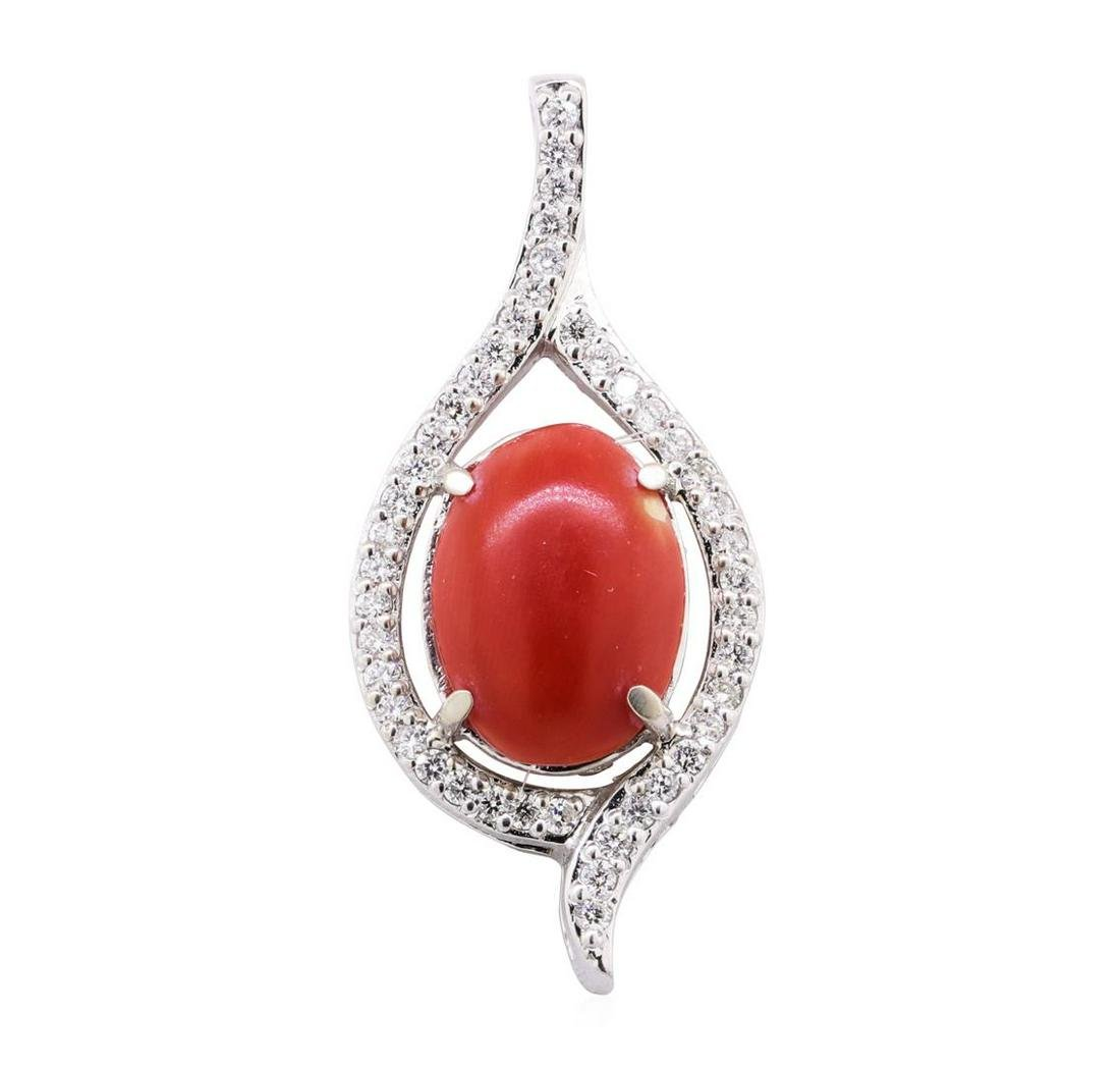 5.65 ctw Red Coral and Diamond Pendant - 14KT White