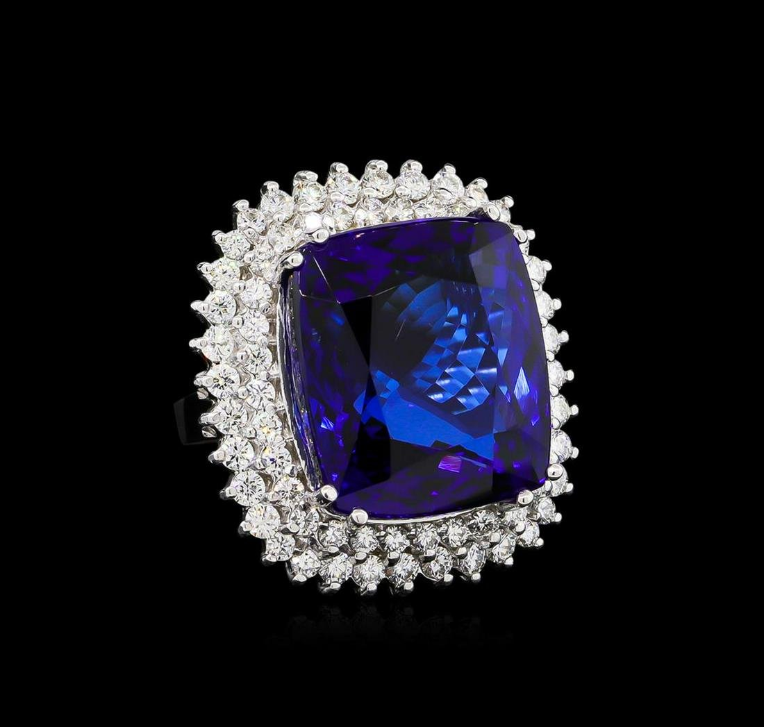 14KT White Gold GIA Certified 43.23 ctw Tanzanite and