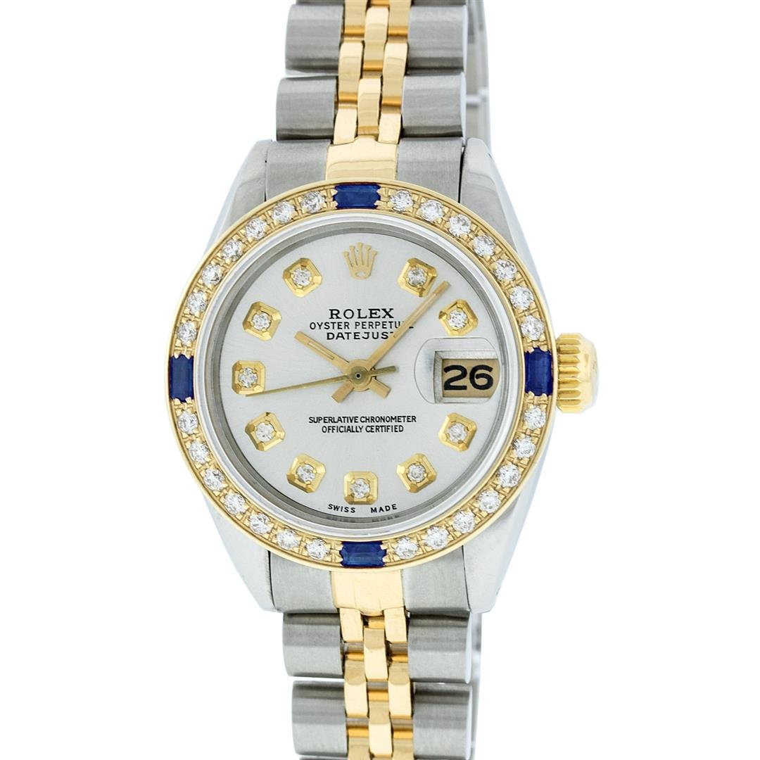 Rolex Ladies 2 Tone Silver Diamond & Sapphire Datejust
