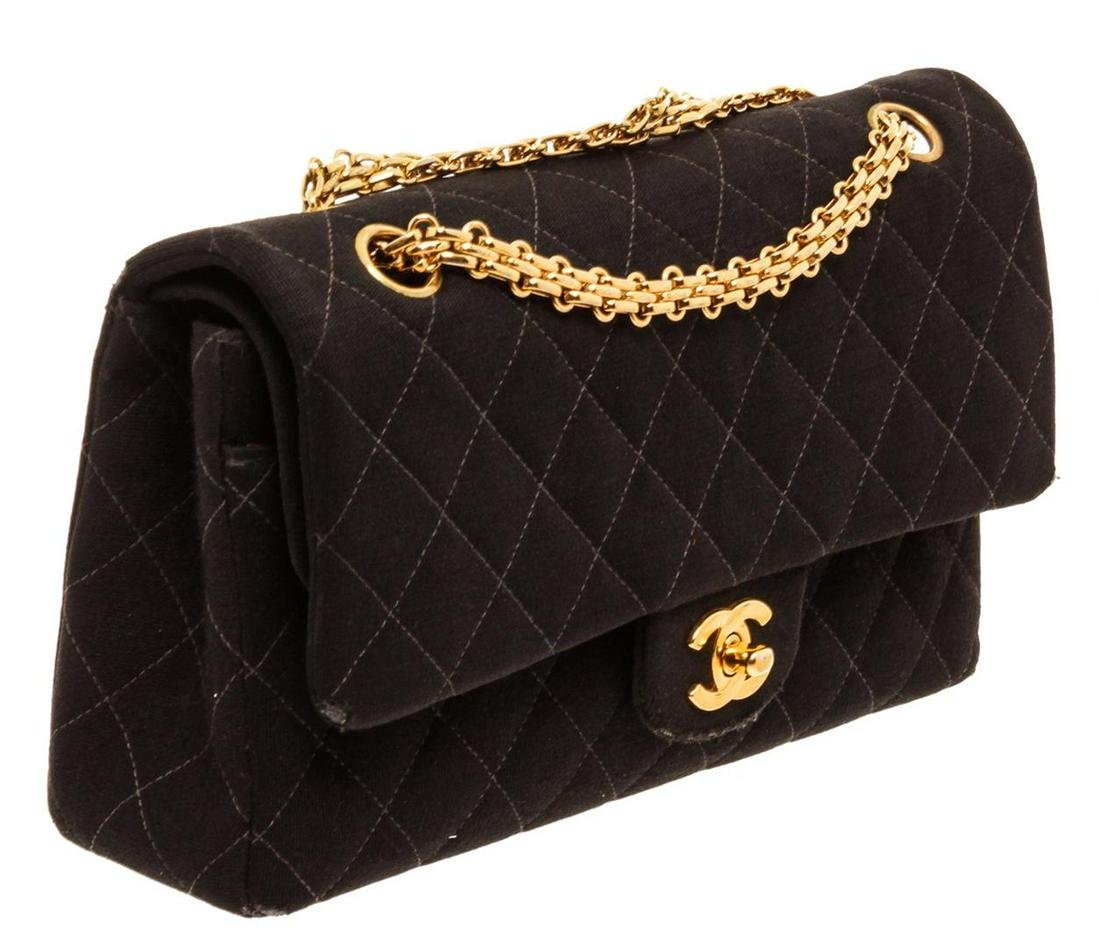 Chanel Black Quilted Fabric Double Flap Shoulder