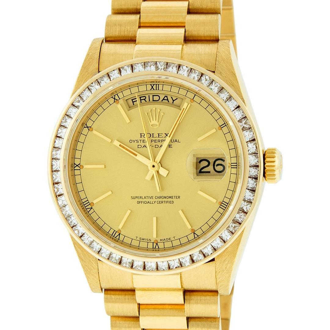 Rolex Mens 18K Yellow Gold 2.75 ctw Channel Set Diamond