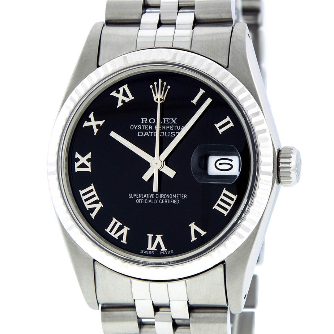 Rolex Mens Stainless Steel Black Roman Datejust 36MM