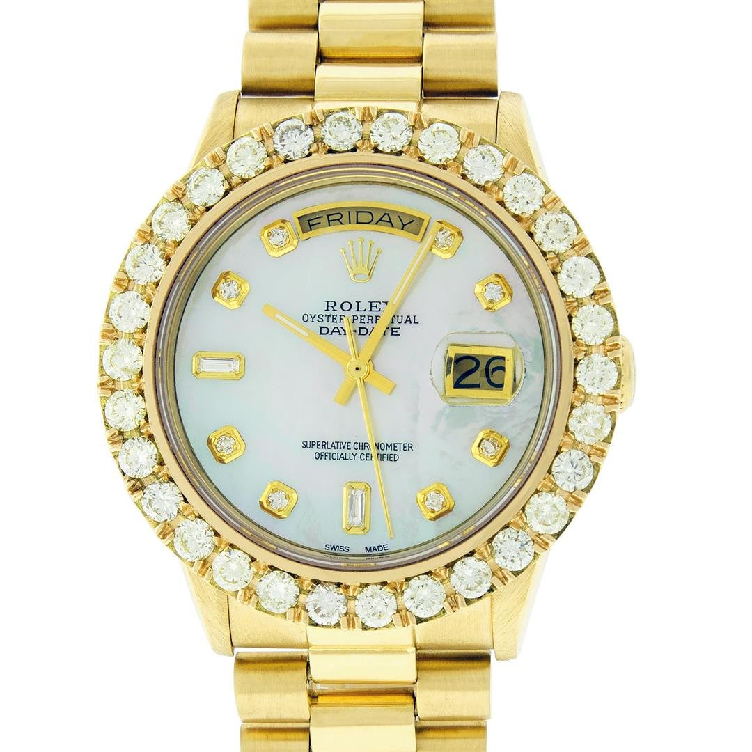 Rolex Mens 18K Yellow Gold 4.0 ctw Diamond Day Date