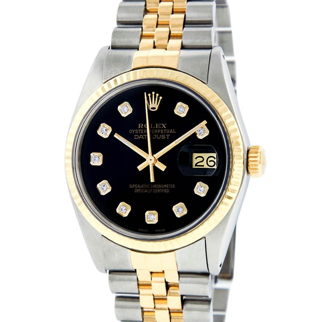 Rolex Mens 2 Tone 14K Black Diamond 36MM Datejust