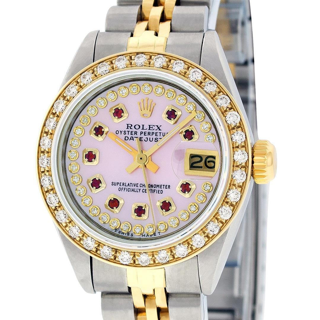 Rolex Ladies 2 Tone 18K Pink MOP Ruby Diamond Datejust