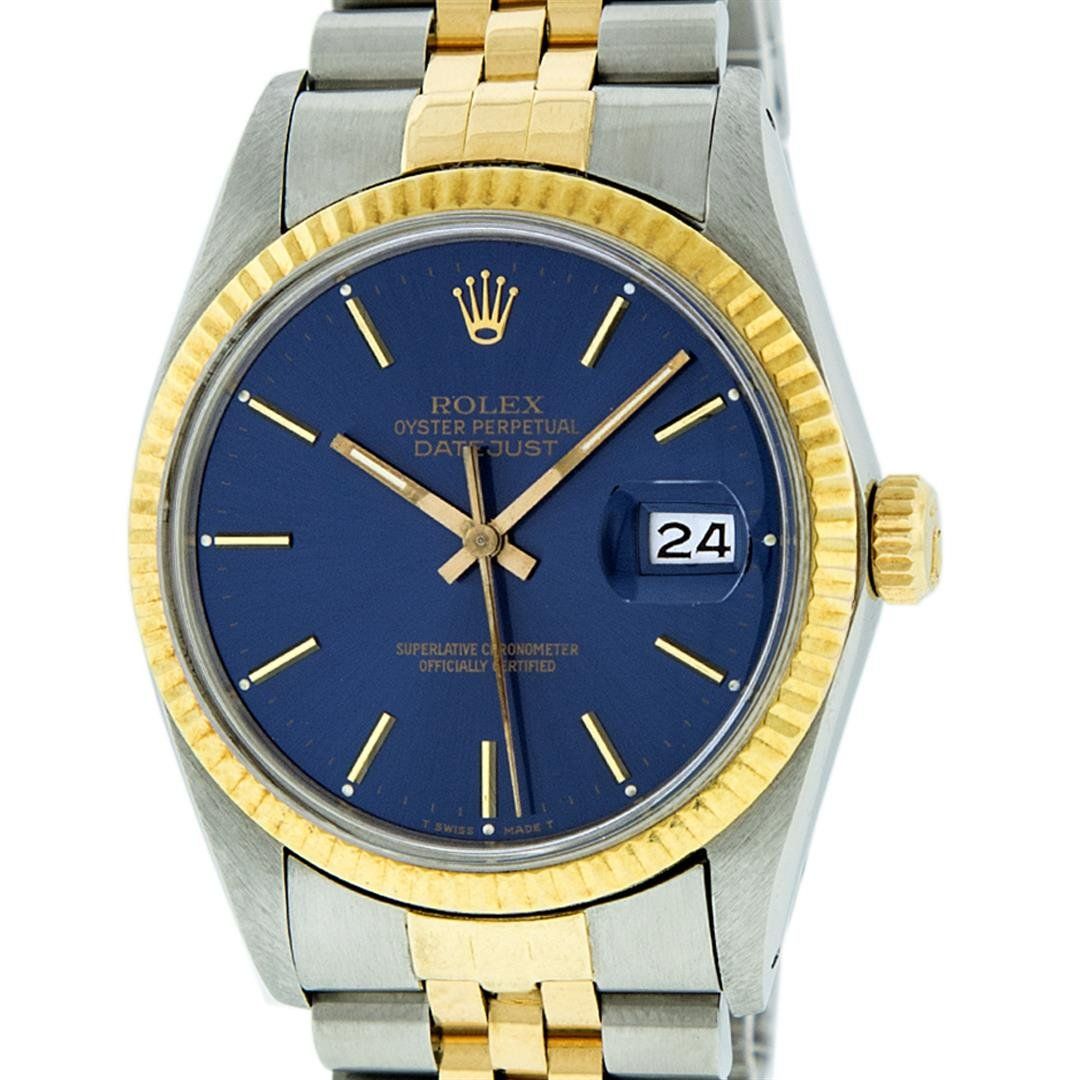 Rolex Mens 2 Tone 14K Blue Index 36MM Datejust