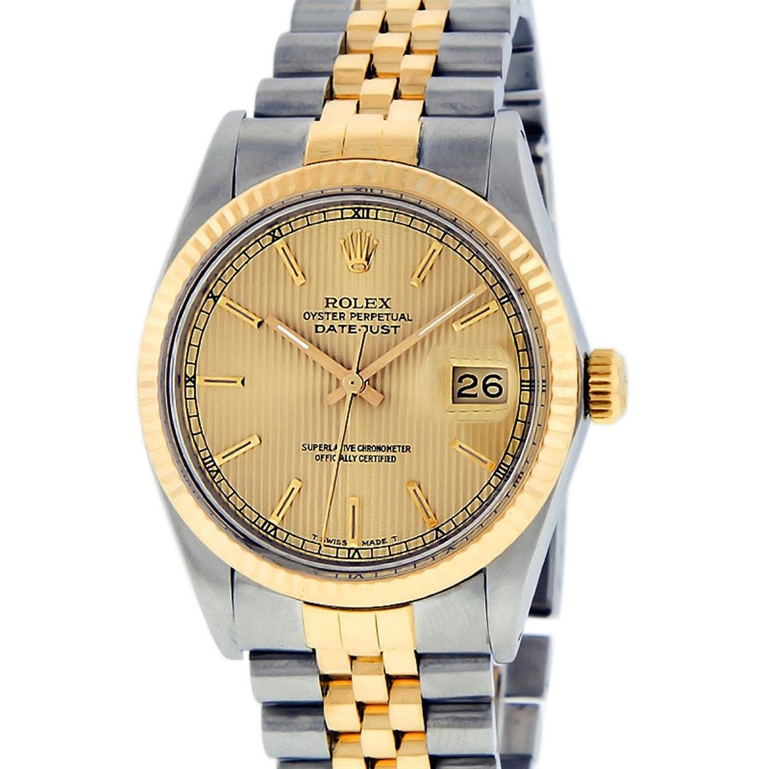 Rolex Mens 2 Tone 14K Champagne Tapestry Index 36MM