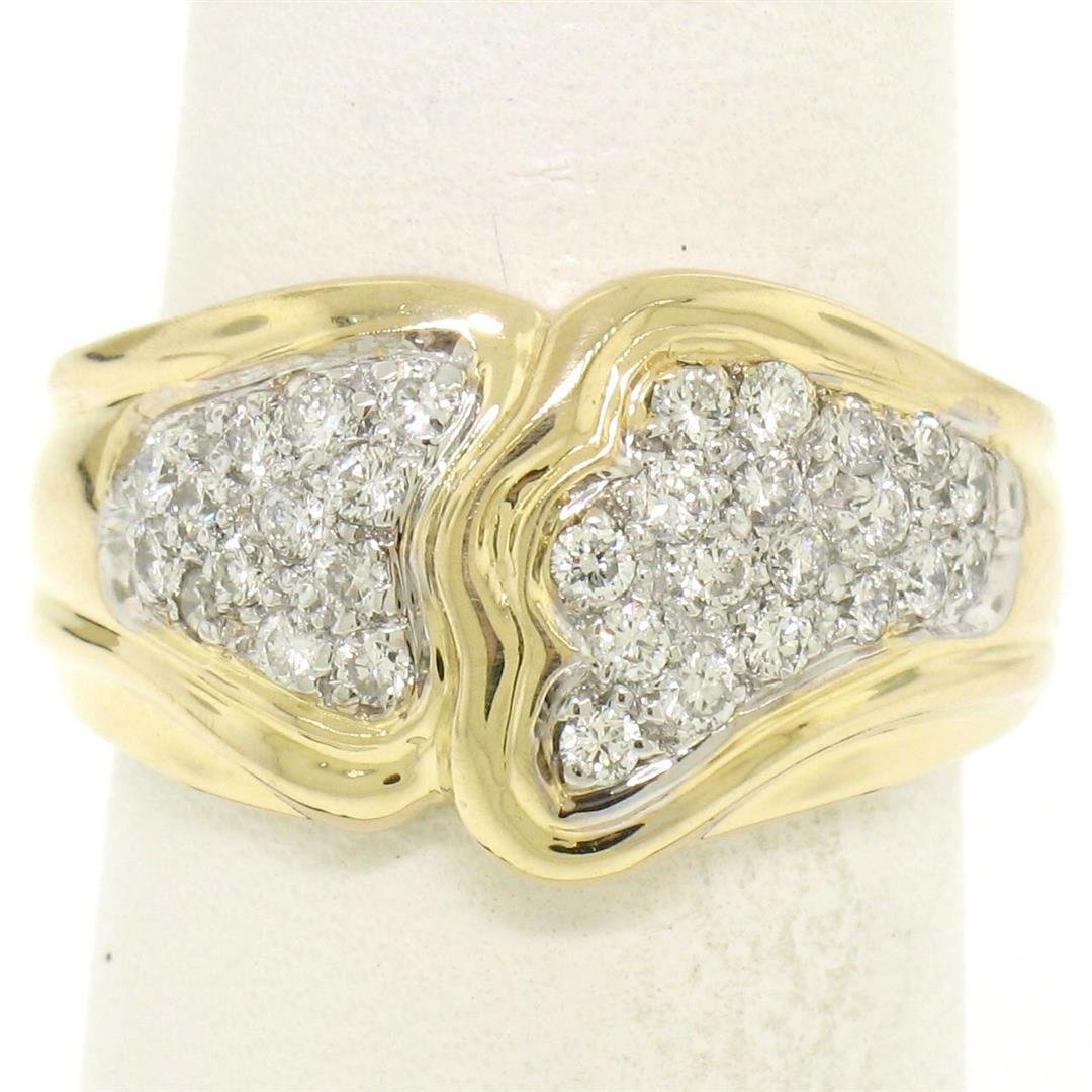 18K Yellow Gold 0.50 ctw F VS1 Pave Set Round Diamond