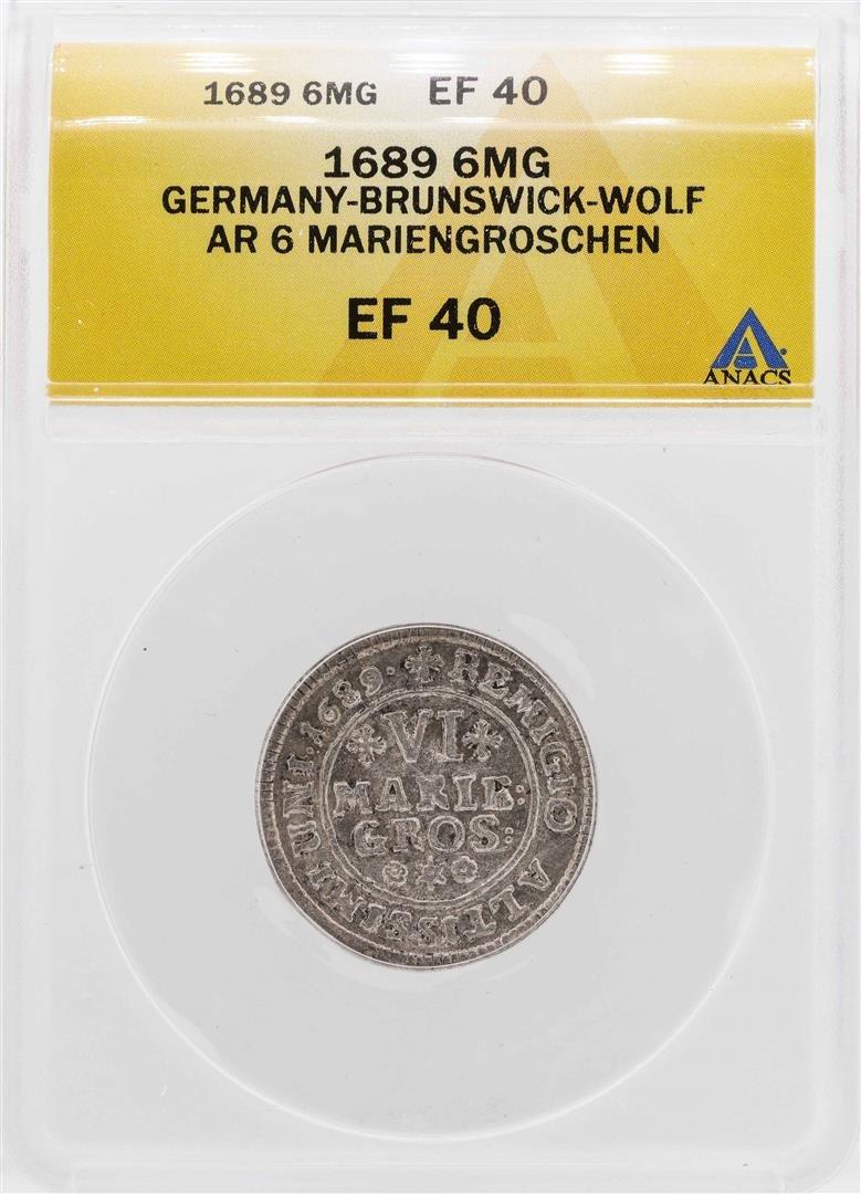 1689 Germany-Brunswick-Wolf 6 Mariengroschen Silver