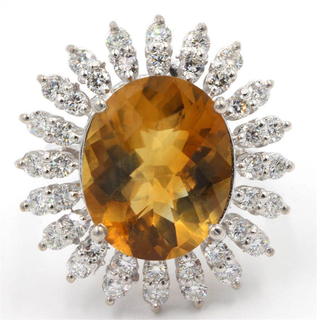 9.00 ctw Madeira Citrine and Diamond Ring - 14KT White