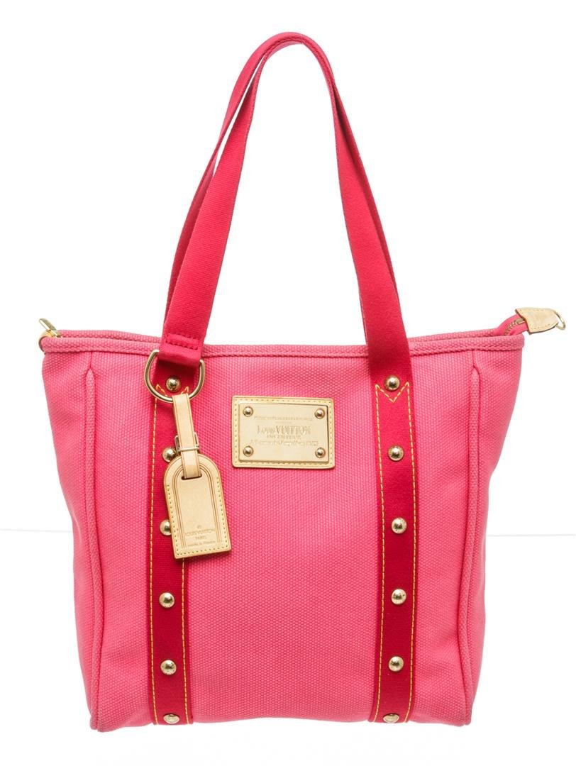 Louis Vuitton Pink Toile Canvas Antigua Cabas MM Tote