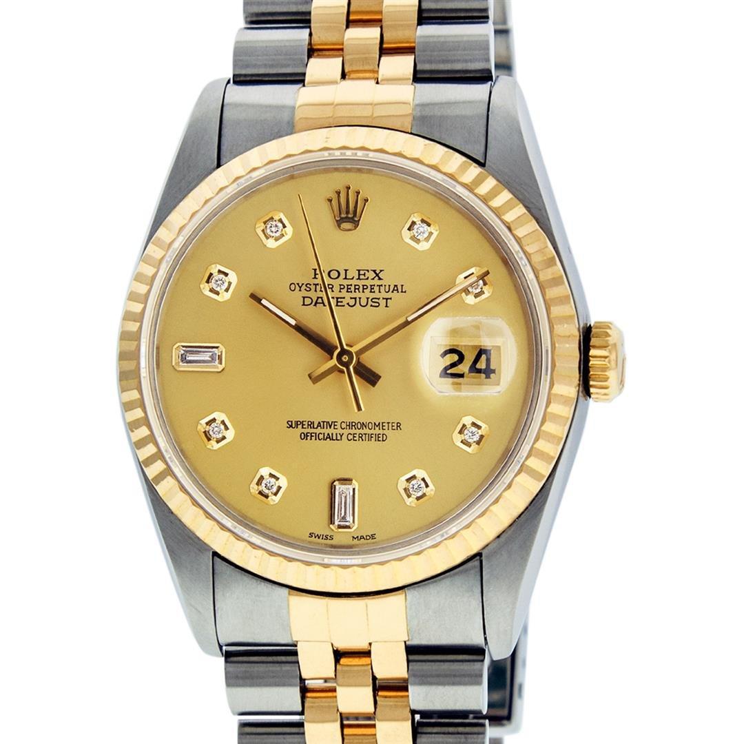 Rolex Mens 2 Tone 14K Champagne Diamond 36MM Datejust