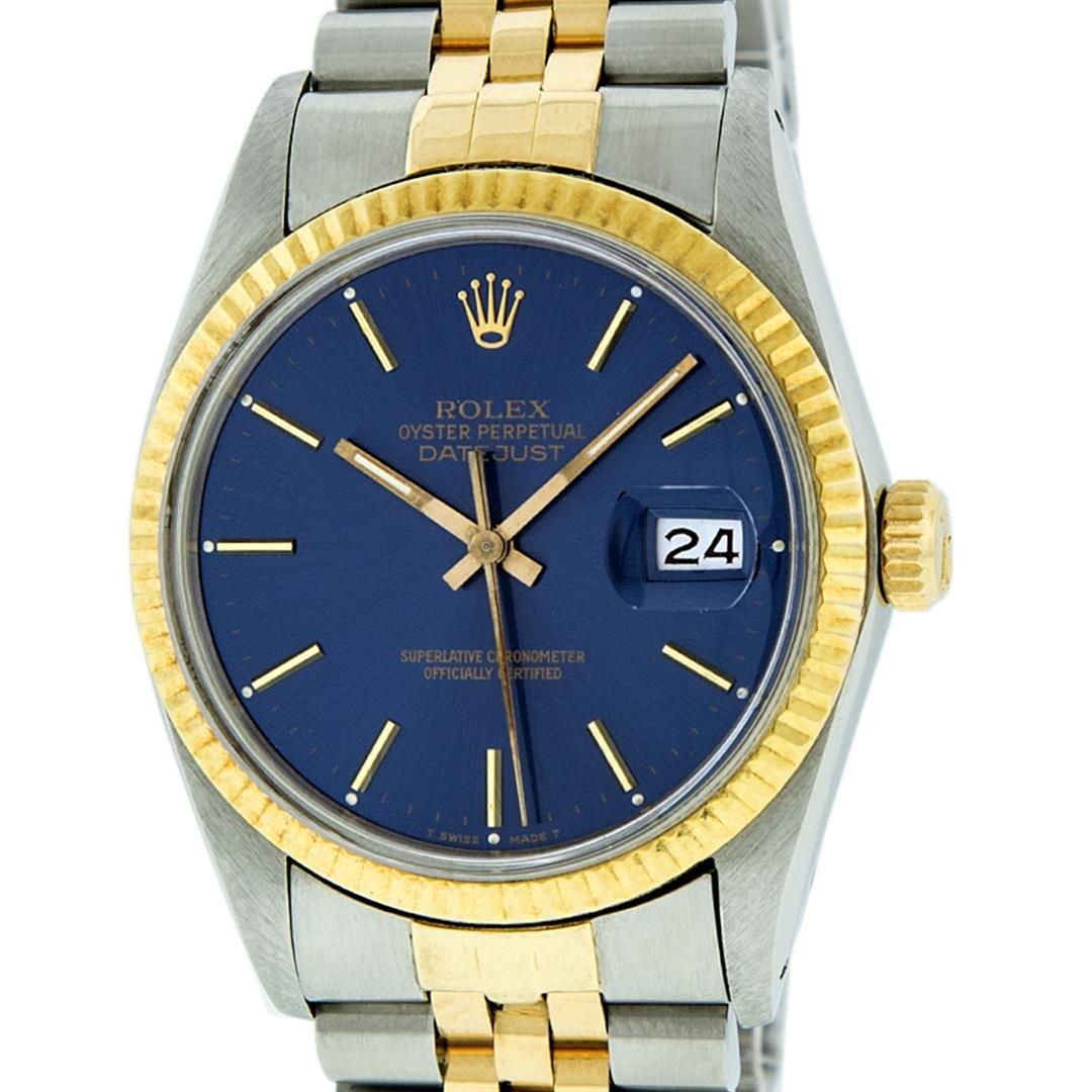 Rolex Mens 2 Tone 14K Blue Index 36MM Datejust