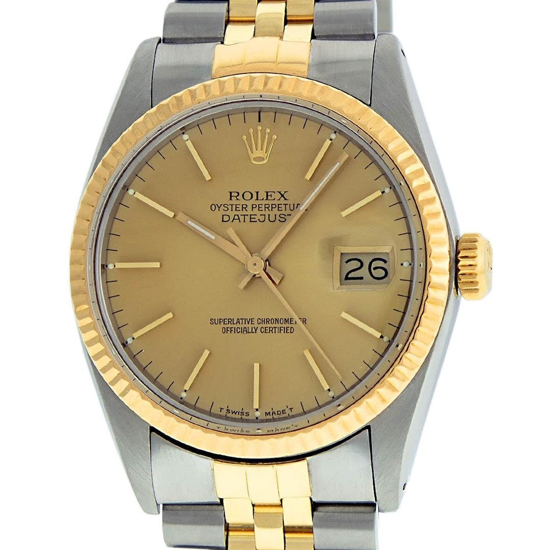 Rolex Mens 2 Tone 14K Champagne Index 36MM Datejust