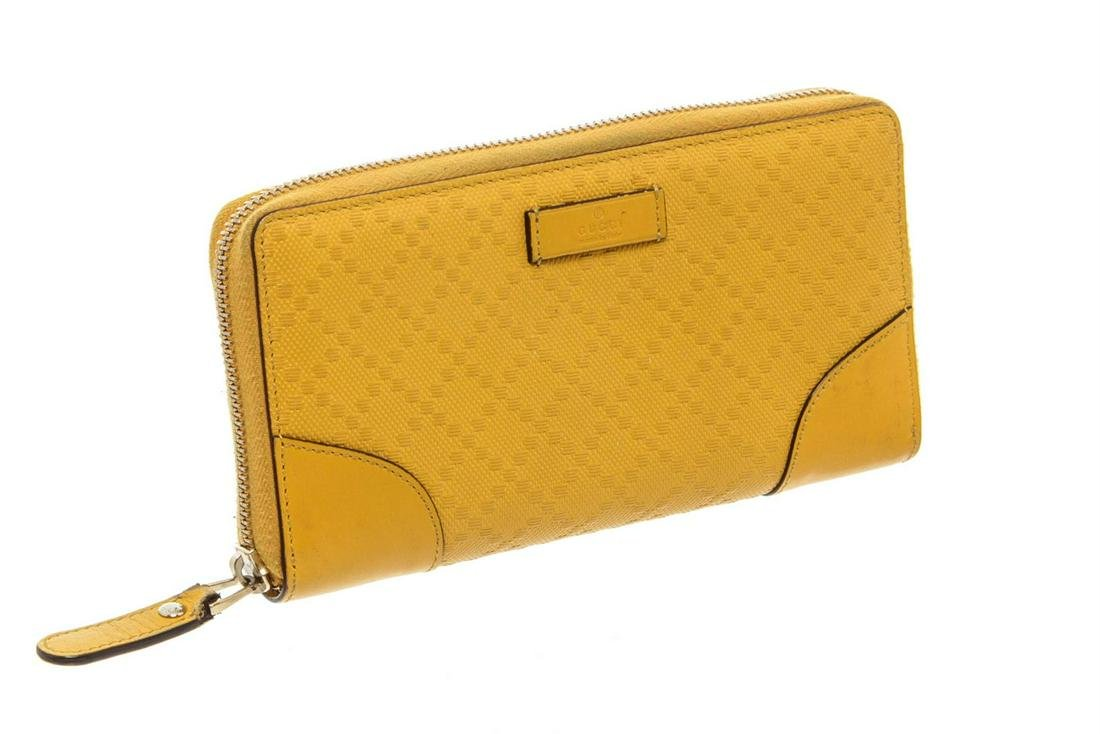 Gucci Yellow Diamante Coated Canvas Leather Zippy