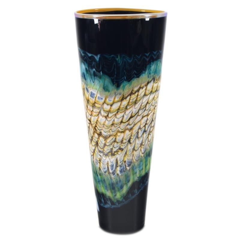Sculpture/ Glass Black Opal Cone by GartnerBlade Glass