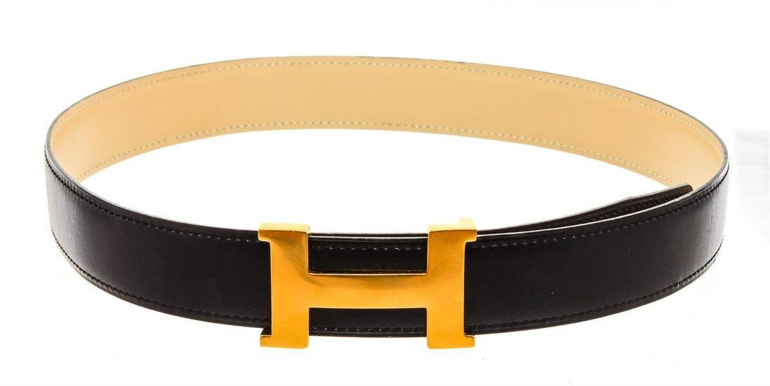 Hermes Black White Reversible H 32MM Belt Kit