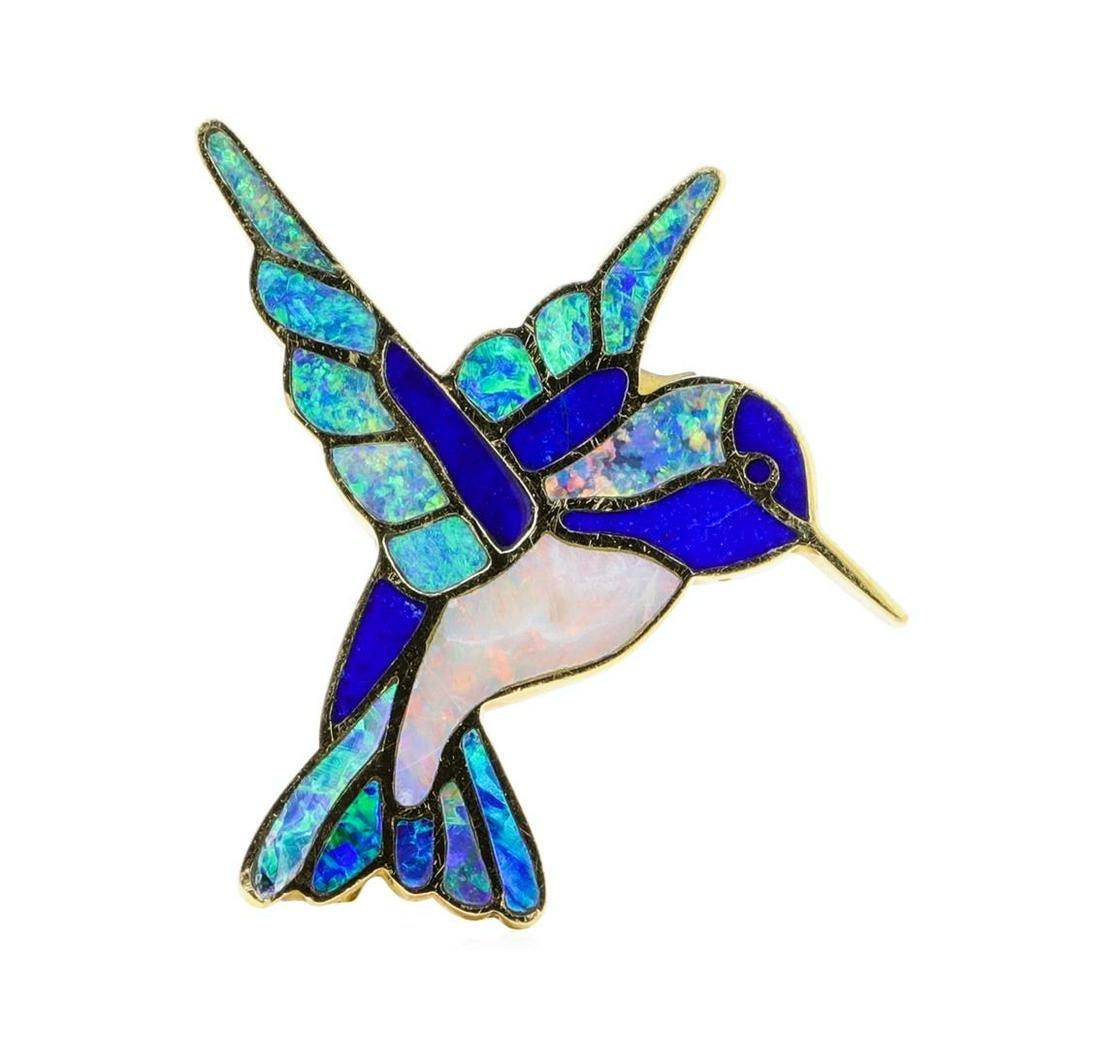 Opal and Lapis Lazuli Hummingbird Pin/Pendant - 18KT