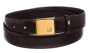 Dunhill Black Leather Gold Buckle Belt
