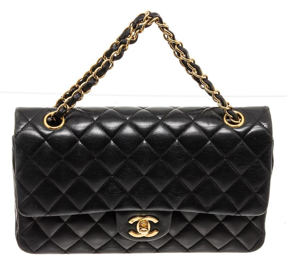 Chanel Black Lambskin Leather Full Flap Bag