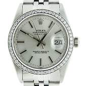 Rolex Mens Stainless Steel Silver Diamond 36MM Datejust