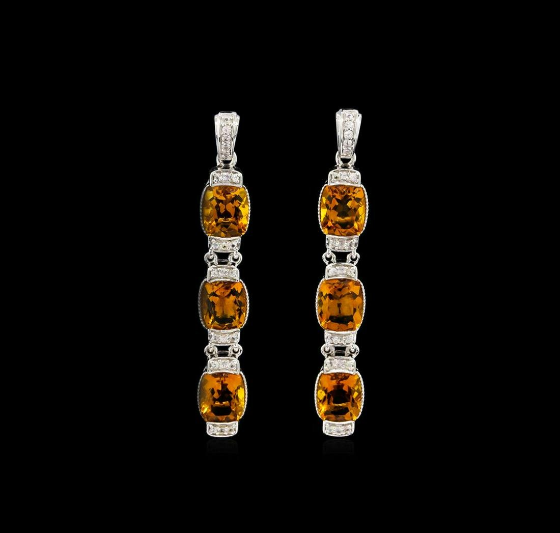 Crayola 15.60 ctw Citrine and White Sapphire Earrings -