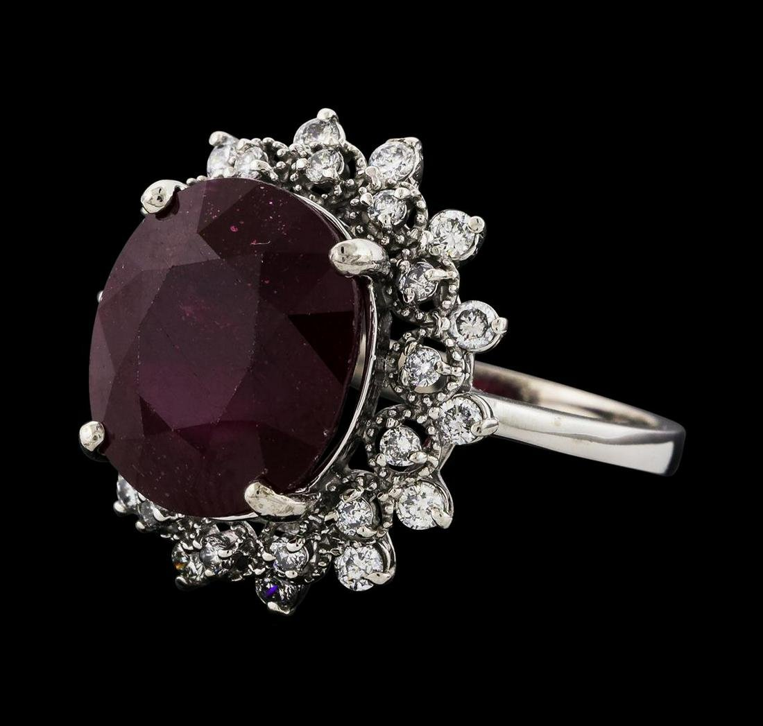 10.75 ctw Ruby and Diamond Ring - 14KT White Gold