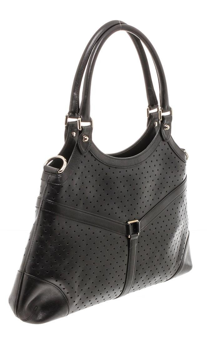 Gucci Black Perforated Leather Reins Hobo Bag